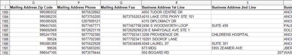 Physician mailing list screenshot part 3